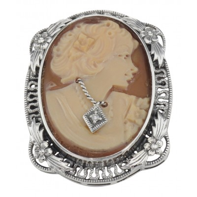 Victorian Floral Style Cameo Pin or Pendant with Diamond - Sterling Silver