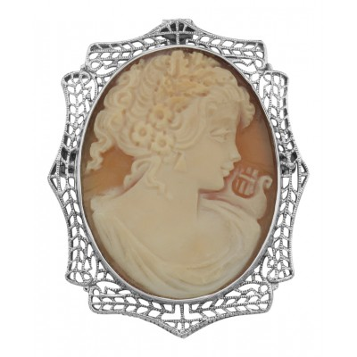 Victorian Style Italian Handcarved Cameo Pin or Pendant - Sterling Silver