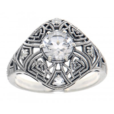 Art Deco Style Sterling Silver White Topaz Filigree Ring