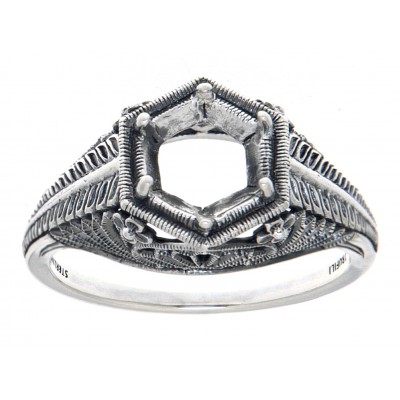 Semi Mount 6mm Classic Victorian Style Filigree Ring - Sterling Silver