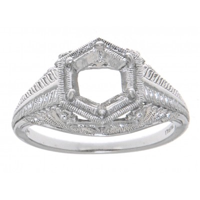 Semi Mount 6mm Classic Victorian Style Filigree Ring 14kt White Gold