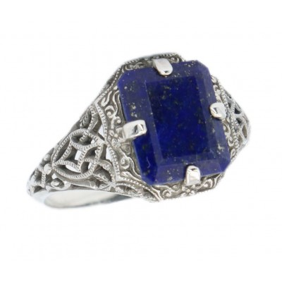 Art Deco Style Blue Lapis Filigree Ring - Sterling Silver