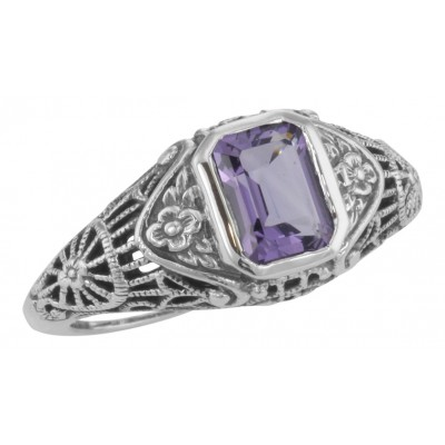 Antique Style Amethyst Filigree Ring with Flower Design - Sterling Silver
