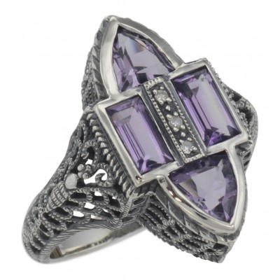 Antique Style Four Stone Amethyst and Diamond Ring - Sterling Silver