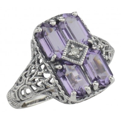 Antique Style Four Stone Amethyst / Diamond Filigree Ring Sterling Silver