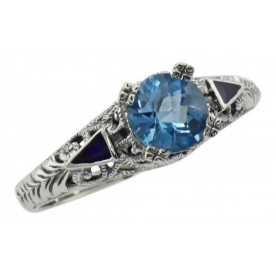 Art Deco Blue Topaz Ring and Enamel - Sterling Silver