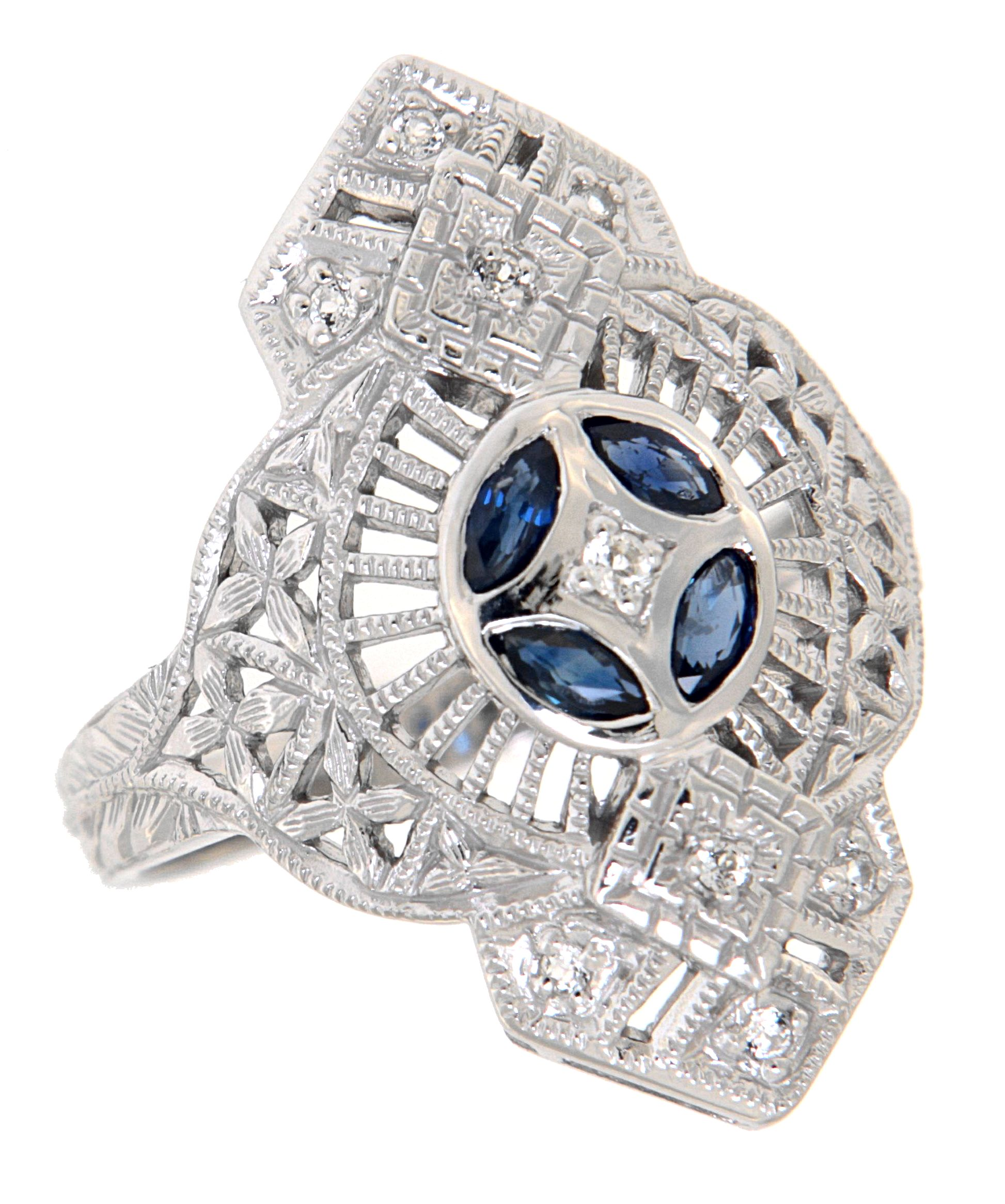 8b8b505a1 Antique Style Jewelry and Gifts Art Deco Filigree Ring White Topaz Blue  Sapphire Accents Sterling Silver - FR-291