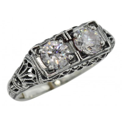 Art Deco Filigree Two Stone CZ Ring - Sterling Silver