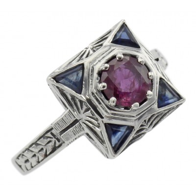 Art Deco Ruby Filigree Ring w/ Sapphire - Sterling Silver