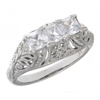 Art Deco Style 14kt White Gold Filigree Ring with 3 Princess Cut CZ
