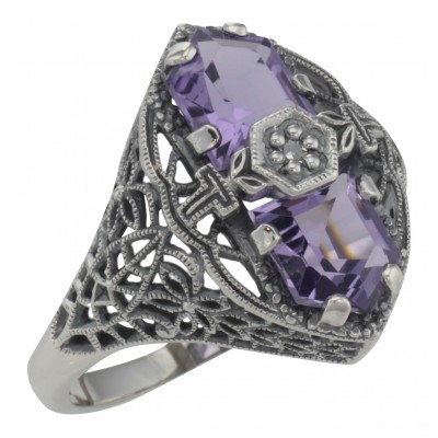 Art Deco Style 2 Stone Amethyst and Diamond Filigree Ring Sterling Silver