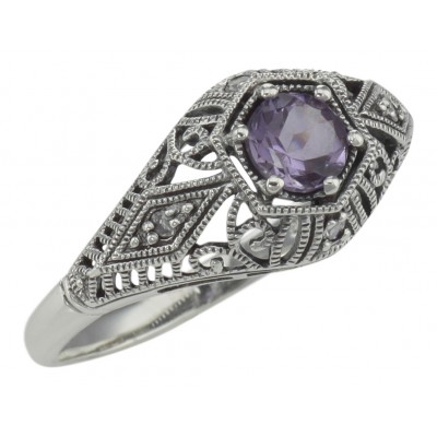 Art Deco Style Amethyst Filigree Ring w/ 4 Diamonds -  Sterling Silver