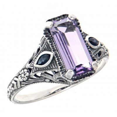 Art Deco Style Amethyst Filigree Ring w/ Sapphire Accents - Sterling Silver