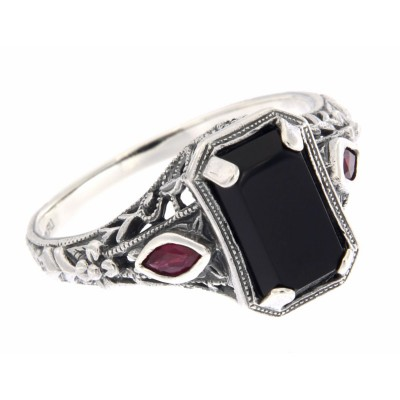Art Deco Style Black Onyx Filigree Ring w/ Ruby Accents - Sterling Silver