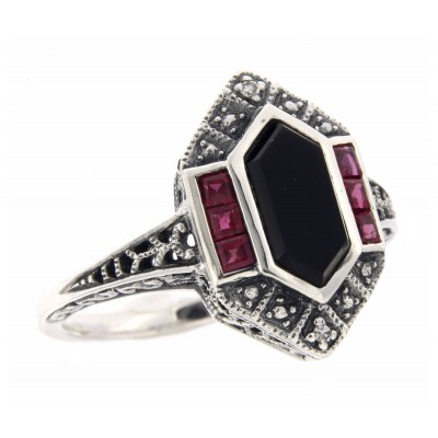 Art Deco Style Black Onyx - Ruby and Diamond Filigree Ring - Sterling Silver