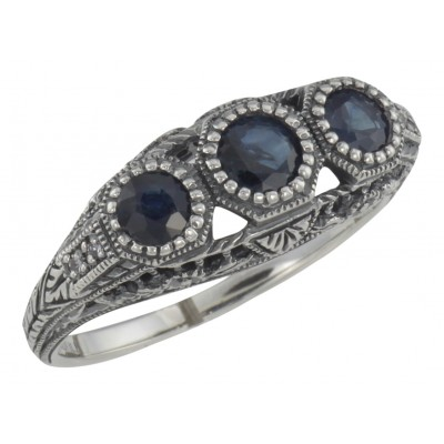 Art Deco Style Blue Sapphire Filigree Ring w/ 4 Diamonds - Sterling Silver