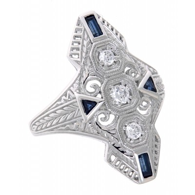 Art Deco Style Filigree CZ Ring Blue Sapphires 14kt White Gold