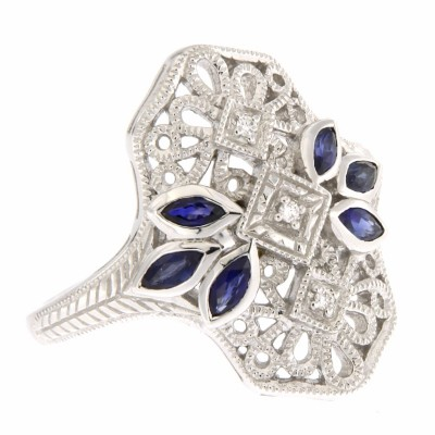 Art Deco Style Filigree Ring 3 Diamonds and 6 Blue Sapphires 14kt White Gold