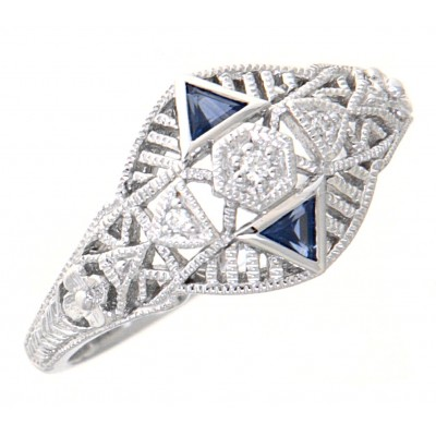 Art Deco Style Filigree Ring Diamonds and Blue Sapphires 14kt White Gold