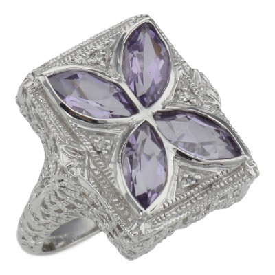 Art Deco Style Filigree Ring w/ amethyst  diamond - Sterling Silver