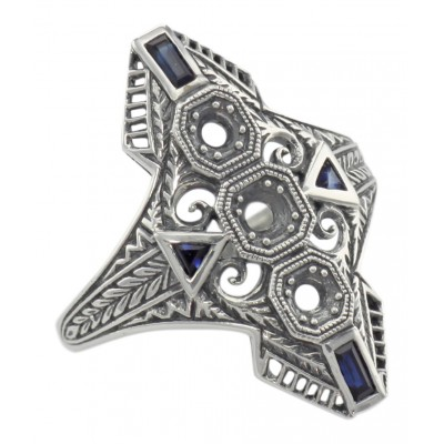 Art Deco Style Filigree Semi Mount Ring w/ Sapphires Sterling Silver