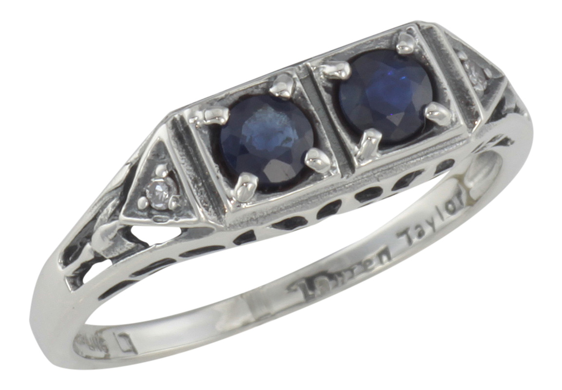 Antique Style Jewelry And Gifts Art Deco Style Sapphire Filigree Ring W 2 Diamonds Sterling Silver Fr 119 S