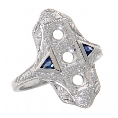 Art Deco Style Semi Mount Ring w/ Sapphire Accents - 14kt White Gold