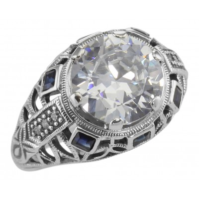 Art Deco Style 14kt White Gold Filigree Semi-Mount Ring w/ Sapphires holds 10mm Round