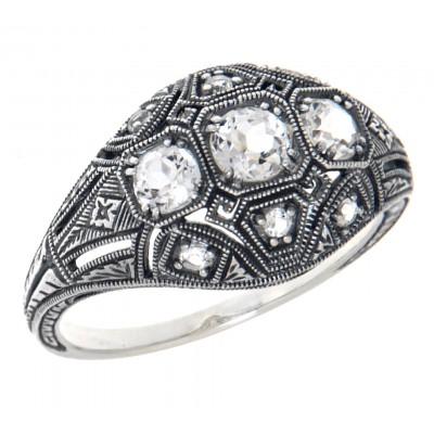 Art Deco Style Three Stone Sterling Silver Filigree White Topaz Ring
