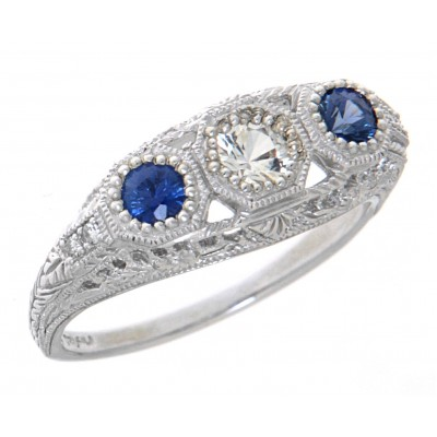 Art Deco Style White and  Blue Sapphire Filigree Ring w/ 4 Diamonds 14kt White Gold