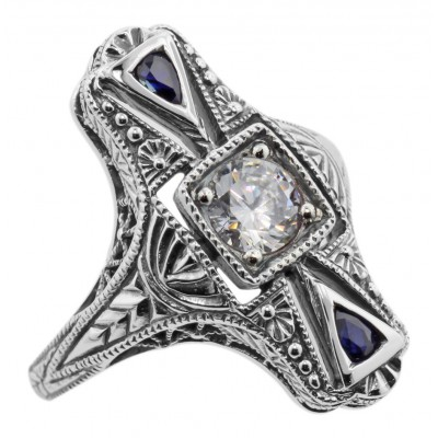 Art Deco Style White Topaz and Sapphire Filigree Ring - Sterling Silver