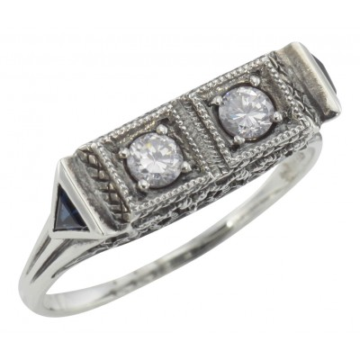 Art Deco Style White Topaz  Filigree Ring w/ 2 Blue Sapphire - Sterling Silver