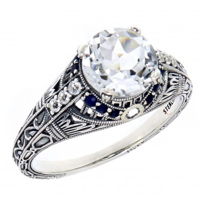 Art Deco Style White Topaz Filigree Ring White Topaz and Blue Sapphire Accents - Sterling Silver