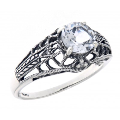 Art Deco Style White Topaz Filigree Ring with Four Diamonds Sterling 925