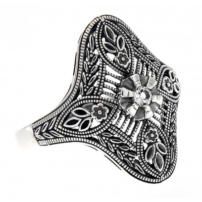 Art Deco Style White Topaz Solitaire Filigree Ring - Sterling Silver