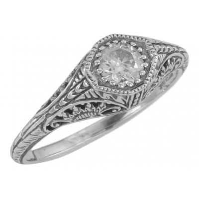 Classic Victorian Style CZ Filigree Ring - Sterling Silver