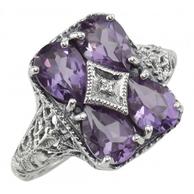 Four Stone Amethyst Filigree Ring - Sterling Silver