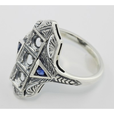 Art Deco Style Semi Mount Ring w/ Sapphire Accents - Sterling Silver
