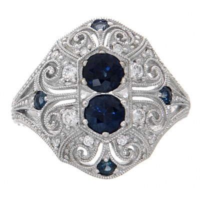 Art Deco Style - 14kt White Gold Blue Sapphire and Diamond Filigree Ring
