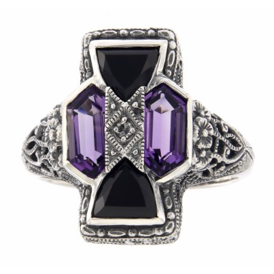 Unique Art Deco Style Amethyst, Onyx and Diamond Filigree Ring - Sterling Silver