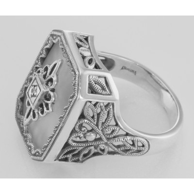 Victorian Style Sunray Camphor Glass and Diamond Ring Sterling Silver