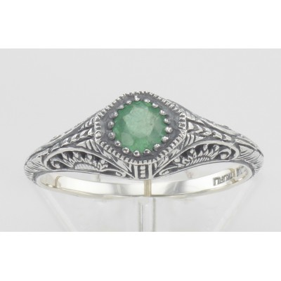 Victorian Style Emerald Filigree Ring Sterling Silver