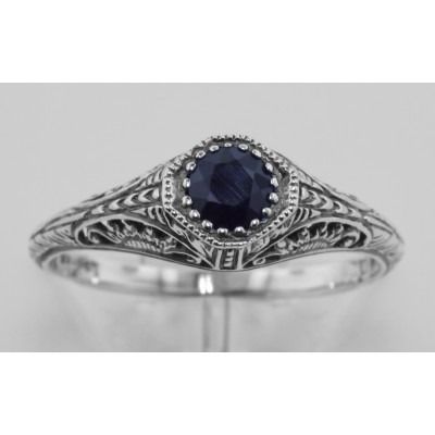 Victorian Style Sapphire Filigree Ring Sterling Silver