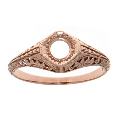 Semi Mount Art Deco Style 14kt Rose Gold Filigree Ring 4.5 mm Center