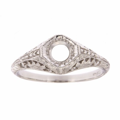 Semi Mount Art Deco Style 14kt White Gold Filigree Ring 4.5 mm Center