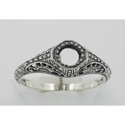 Semi Mount Art Deco Style Filigree Ring - Sterling Silver
