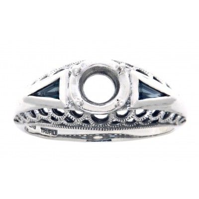 Art Deco Style  Filigree Semi Mount Ring Blue Sapphire Accents Sterling Silver