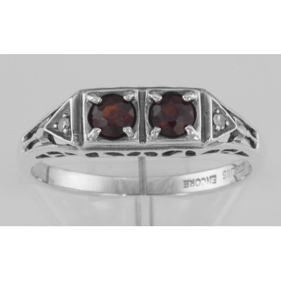 Art Deco Style Garnet Filigree Ring w/ 2 Diamonds - Sterling Silver