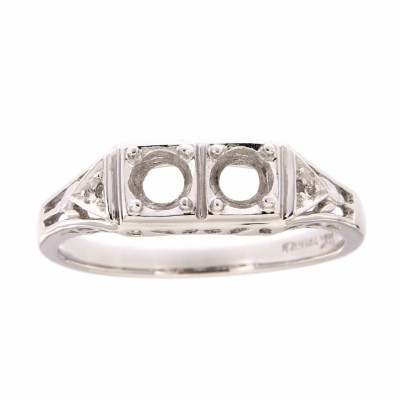 Art Deco Style Semi Mount Filigree Ring w/ 2 Diamonds - 14kt White Gold