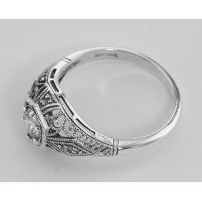 CZ Filigree Ring Art Deco Style w/ 4 Diamonds - Sterling Silver